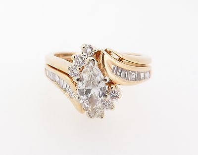 AU2275 • Buy .Marquise Diamond 0.93ct Cluster 14k Gold Double Ring Val $6815