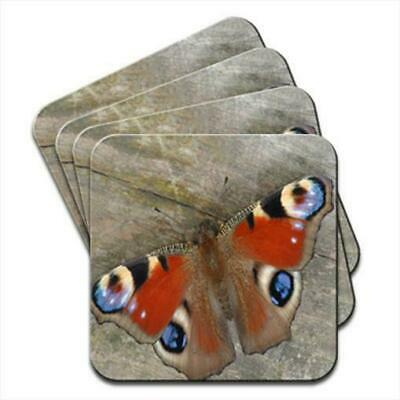 £4.99 • Buy Peacock Butterfly Sitting On Wooden Table Set Of 4 Coasters