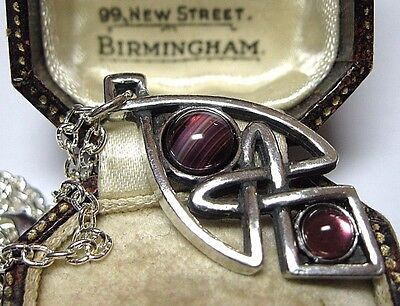 £17.99 • Buy NEW VINTAGE DESIGN MIRACLE JEWELLERY CELTIC KNOT AMETHYST GLASS Pendant NECKLACE