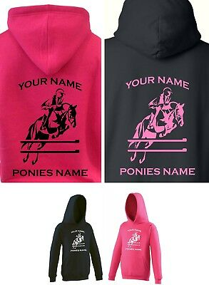 NEW PERSONALISED KIDS / CHILD'S SHOW JUMPING PONY / HORSE HOODY 1-13 Years • 17.50£