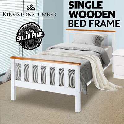 AU149 • Buy Single Wooden Bed Frame Base White Timber Kids Adults Modern Bedroom Furniture
