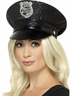 Sequin Police Hat Policewoman Cop Adult Womens Ladies Fancy Dress Accessory • 8.80£