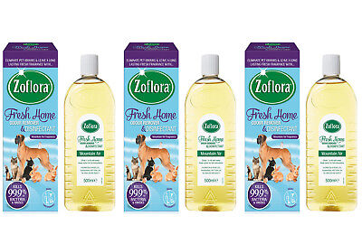 3 X ZOFLORA FRESH HOME PET ODOUR REMOVER & DISINFECTANT MOUNTAIN AIR 500ml • 17.90£