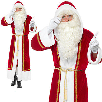 Deluxe Santa Cloak Costume Christmas Xmas Claus Father Mens Fancy Dress Outfit • 22.95£
