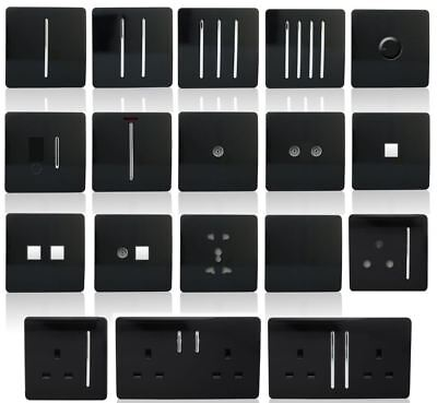 Trendi Switch Piano Black Designer Light Switches, Plug Sockets, Fused Spurs, TV • 15.95£