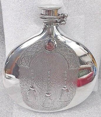 £30.95 • Buy 6oz Sheffield Pewter Sporran Flask Embossed  Fitted With A Captive Top + Funnel