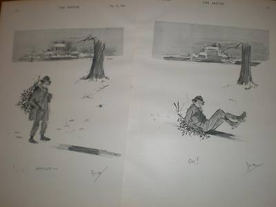 Phil May Double Cartoon About Ice And Holly 1895 • 8.99£