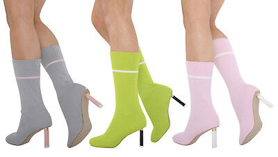 S324 - Ladies Pull On Knit Stretch Sock High Heel Calf Or Ankle Boots - UK 3 - 8 • 22.49£