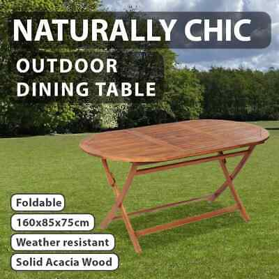 AU141.99 • Buy VidaXL Outdoor Dining Table Acacia Wood Brown Foldable Oval Garden Furniture