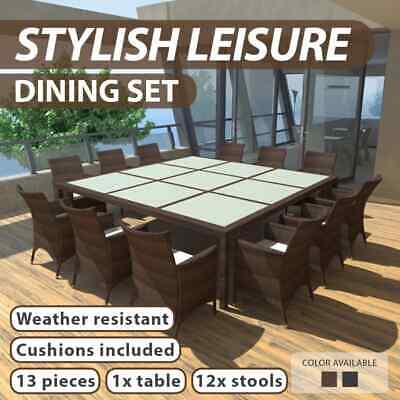 AU1200.99 • Buy 25 PCS Outdoor Wicker Furniture Dining Set Patio Poly Rattan Setting Brown/Black
