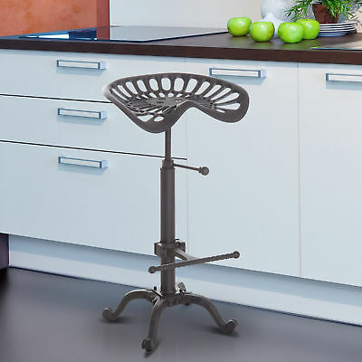AU110.67 • Buy HOMCOM Industrial Style Tractor Adjustable Bar Stool In Cast Iron