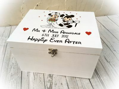 £39.99 • Buy Mickey & Minnie Mouse Wedding Day Memory Box White Disney Themed Engagement Gift