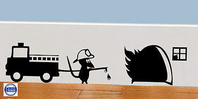 £2.25 • Buy Mouse Hole Wall Art Sticker Fire Engine, Vinyl Mice Home Skirting Board Funny