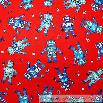 $9.38 • Buy BonEful Fabric FQ Cotton Quilt Red White Blue American Robot Boy Computer Dot US
