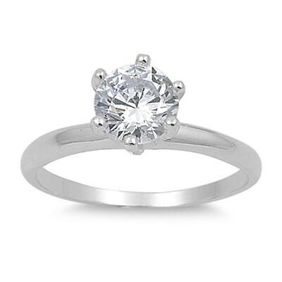 $13.39 • Buy Clear CZ Polished Solitaire Simple Ring New .925 Sterling Silver Band Sizes 3-12