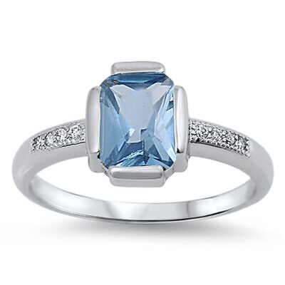 $16.29 • Buy Aquamarine CZ Polished Unique Solitaire Ring 925 Sterling Silver Band Sizes 5-10