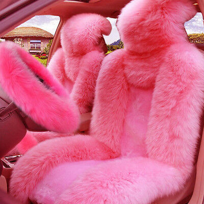 $ CDN176.28 • Buy 5Pcs/Set Pink Fur Fluffy Thick Car Steering Wheel Cover+2 Front Car Seat Cover