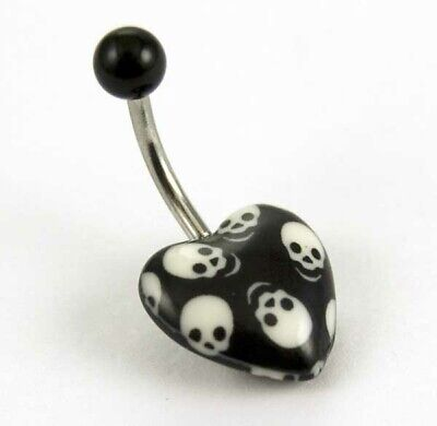 £3.50 • Buy BELLY BUTTON BAR HEART SHAPED WITH SKULLS 10mm Bar UV GLOW BODY JEWELLERY