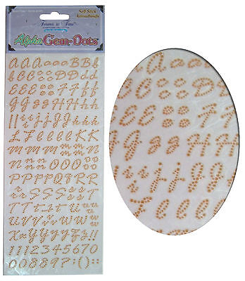 Card Making Stickers Sheet, Alphabet Letters & Numbers, Gem Embellishment - Gold • 2.95£
