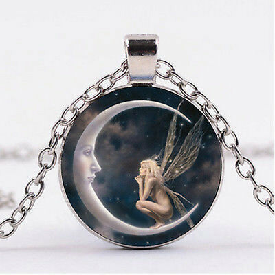 $0.99 • Buy Fairy On The Moon Photo Cabochon Glass Silver Chain Pendant Necklace Jewelry NEW
