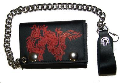 $9.95 • Buy RED CHINESE DRAGON  BIKER TRIFOLD  WALLET WITH CHAIN  LEATHER #620 Trucker New