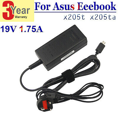 £9.99 • Buy For ASUS Transformer 19V 1.75A X205T X205TA 11.6  Adapter Charger UK Cable