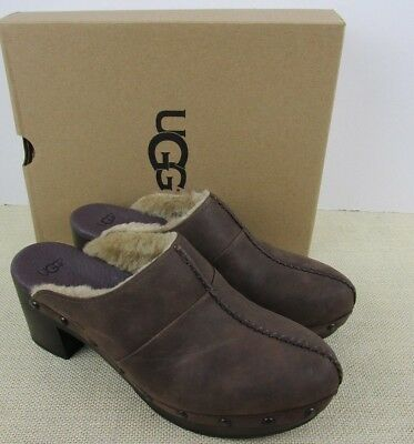 £38.94 • Buy Ugg 1013600 Kassi Cho Women's Chocolate Brown Leather Clog Shoes New In Box