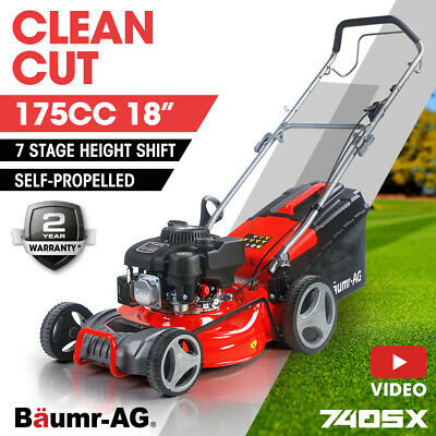 AU389 • Buy Baumr-AG Lawn Mower 18  175cc Petrol Self-Propelled Push Lawnmower 4-Stroke