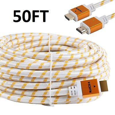 $ CDN18.21 • Buy PREMIUM HDMI CABLE 50FT For 3D DVD PS4 HDTV XBOX LCD HD TV 1080P V1.4 White US