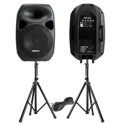 Powerful 12  Active Disco PA Speakers Mobile DJ Portable Sound System & Stands • 195£
