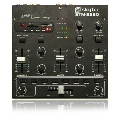 4-Channel USB MP3 In-Built Effects EQ Portable Compact DJ Deck Mixer Crossfader • 67.99£
