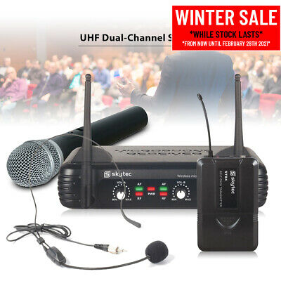 Dual Channel UHF Wireless System Radio Handheld Microphone Headset And Bodypack • 91£