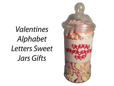 £7.99 • Buy Valentines Day Alphabet Letters Sweets Candy Jars Gift Presents Kids Partners