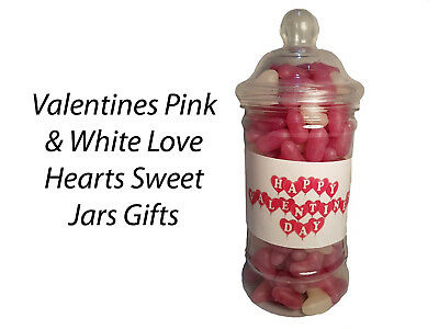 £5.99 • Buy Valentines Day Pink & White Hearts Sweets Candy Jars Gift Presents Kids Partners
