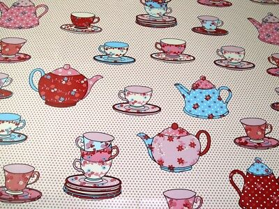 £5.99 • Buy Tea Time Print Plastic Coated PVC Table Protector Fabric (PVCTP-TeaTime-Pink-M)