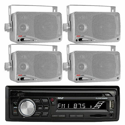 $167.49 • Buy JVC KD-X37MBS Marine Boat Bluetooth USB AUX Radio Stereo, 4x Silver Box Speakers