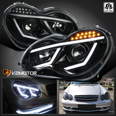$265.38 • Buy For Jet Black 2001-2007 Benz W203 C-Class C230 C320 LED Bar Projector Headlights