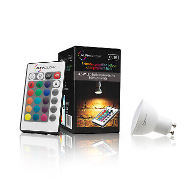 £9.99 • Buy AURAGLOW Remote Control Colour Changing 6w LED Dimmable Light Bulb - GU10