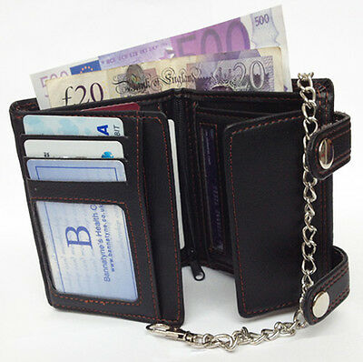 $ CDN10.50 • Buy Black Mens Gents Top Quality Leather Card Notes Zip Wallet Purse With Chain Uk