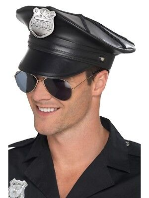 Adult Mens Deluxe Police Hat Black Faux Leather Fancy Dress Accessory • 5.99£