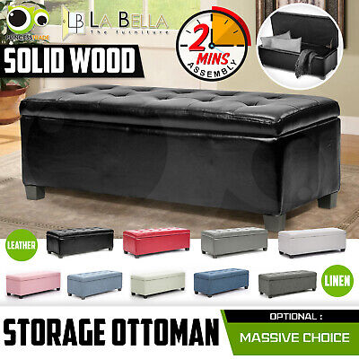 AU114.90 • Buy Storage Ottoman Blanket Box Linen Fabric Foot Stool Couch Bed LARGE