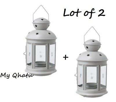 $6.20 • Buy IKEA ROTERA Lanterns For Tea Light, Indoor /outdoor Gray Lot OF 2 NEW