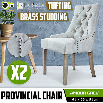 AU249 • Buy 2 X Dining Chair French Provincial Brass Studded Fabric Oak Legs Cafe AMOUR - GY