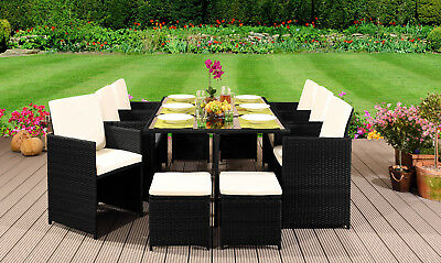 £369.99 • Buy 10 Seater Rattan Garden Furniture Set - 6 Chairs 4 Stools & Dining Table