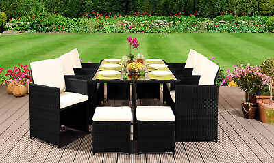10 Seater Rattan Outdoor Garden Furniture Set - 6 Chairs 4 Stools & Dining Table • 749.99£