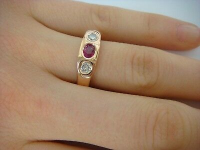 $850 • Buy 14k Solid Rose Gold 0.70 Ct T.w. Oval Ruby And Two Diamonds Ladies Gypsy Ring
