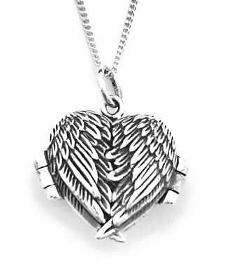 Sterling Silver Angel Wings Heart Photo Locket Pendant On 18  Curb Chain • 22.99£