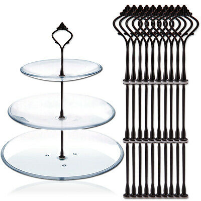 £10.49 • Buy 2 Or 3 Tiers Black Cake Plate Stand Handle Rods Fittings Crown Style 10 Sets