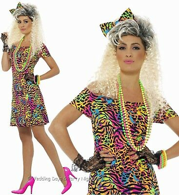 8-18 Neon 80s Party Animal Costume + Hair Bow Disco Ladies Fancy Dress Outfit  • 8.95£