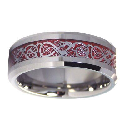 $29.99 • Buy Tungsten Fire Red Celtic Dragon Ring Mens Womens Wedding Band 8mm Size 6-17